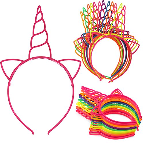 XIMA 12pcs Plastic Unicorn Headbands For Girls Children Party Hairbands Lovely Hair Hoop Princess Headear Hair Accessory (Bright Colors-Unicorn)]()