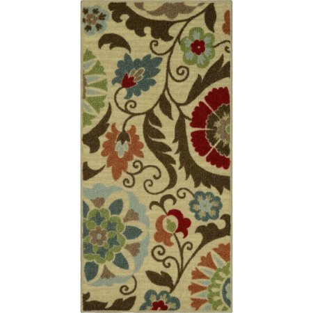 Kitchen Rug, Floral Medallion with Durable print kitchen (1'8