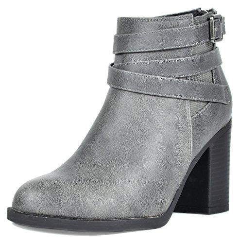 TOETOS Women's Chicago-03 Grey Faux Leather Pu Chunky Heel Ankle Boots Size 8 M US