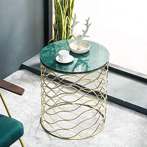 ZR- ラウンドマーブルサイドテーブル北欧スタイルのリビングルームコーヒーテーブルバルコニーレジャーテーブル50 * 57CM 家具 (Color : Green)