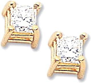 Lex & Lu oro giallo 14K AAA qualità complete principessa taglio diamante orecchino LAL15048