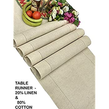 Linen Clubs - Flax Cotton Linen Looks Table Runner - Size 16x90 Natural - Hand Crafted and Hand Stitched Table Runner with Hemstitch detailing
