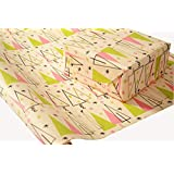 Mid-Century Modern Christmas Wrapping Paper on White Kraft Paper - 30 inches x 180 inches per roll = 112.5 square feet total