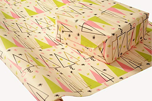 - Mid-Century Modern Christmas Wrapping Paper on White Kraft Paper - 30 inches x 180 inches per roll = 112.5 square feet total