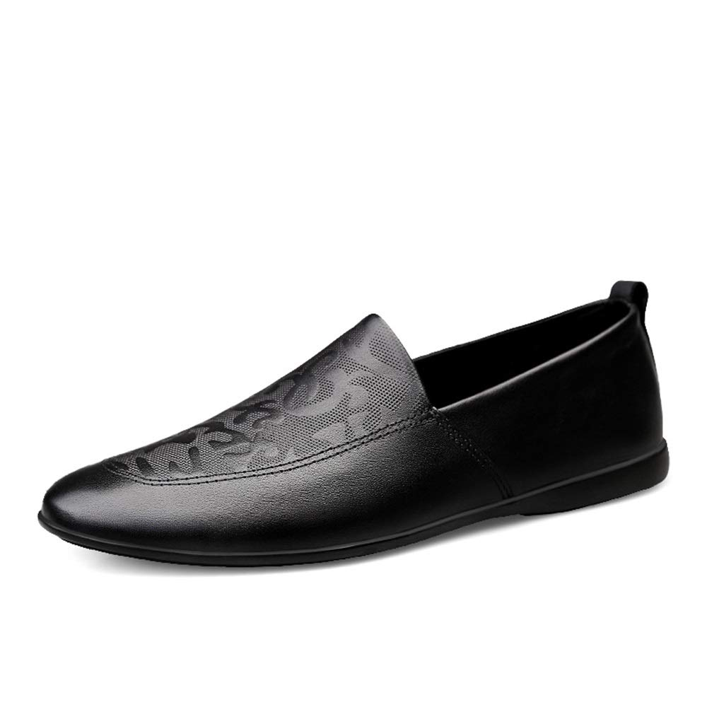 HYF Men's Oxford Shoes Fashion Embossed Loafers Lightweight Breathable Dress Wedding Casual Leather Shoes Dress Shoes for Men (Color : Black, Size : 7 D(M) US)