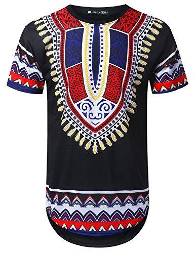 ed1402b8c URBANTOPS Mens Hipster Hip Hop Patterned Dashiki Longline T-Shirt Black, XL