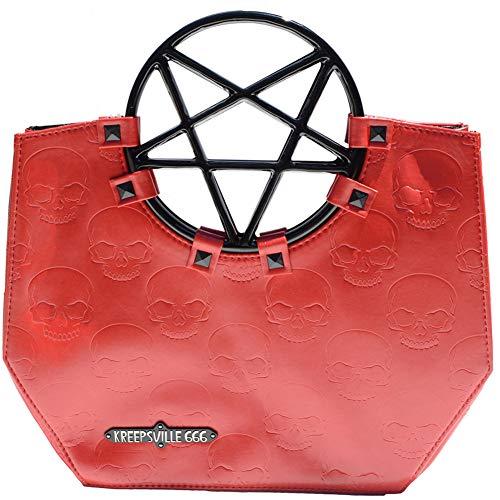 Kreepsville 666 Pentagram Handle Purse Bag Red