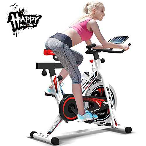 Spin Bikes for Home, Indoor Cycling Bike with iPad Holder, Exercise Bike Fitness Bicycle Stationary Indoor Cycle Trainer with Heart Pulse Sensors for Halloween Gift