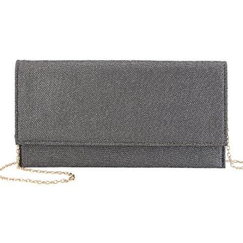 90S Women' s Glittering Evening Clutch Bag Elegant Shoulder Bag Leather Wedding Party Handbag Grey