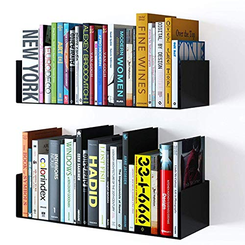 Wallniture Bali Floating Wall Mount Metal U Shape Shelf Book CD DVD Storage Display Bookcase Black Set of 2 ()