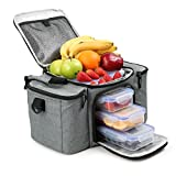 Image of RitFit Cooler&Warm Meal Insulated Lunch Bag with Snap Lid Containers and Ice Pack (Gray)