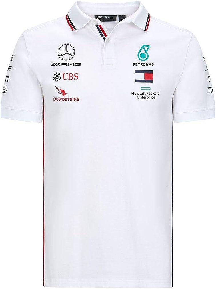 XL, White Mercedes Benz AMG Petronas F1 2020 Mens Team Polo Black//White