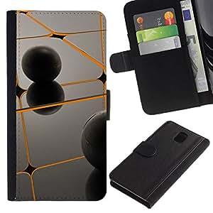 All Phone Most Case / Oferta Especial Cáscara Funda de cuero Monedero Cubierta de proteccion Caso / Wallet Case for Samsung Galaxy Note 3 III // Orange & Black
