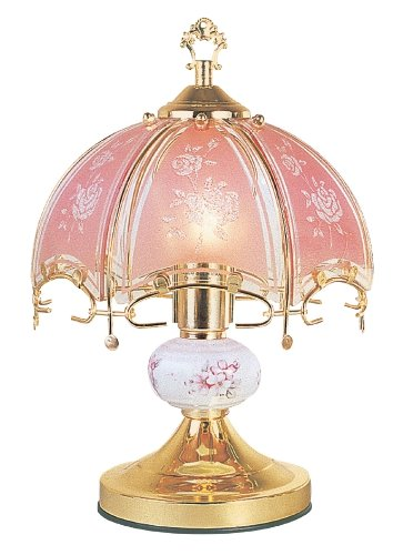 ORE International K312 Pink Glass Floral Touch Lamp, Brushed Gold