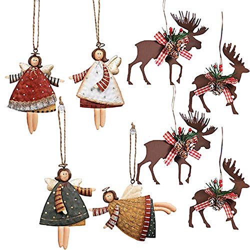 Holiday and Christmas Tree Ornament Pack With 18 Ornaments; 12 Dancing Tin Angel Ornaments and 6 Metal Winter Moose and Deer Ornaments With Holiday Pin By Another Dream! -