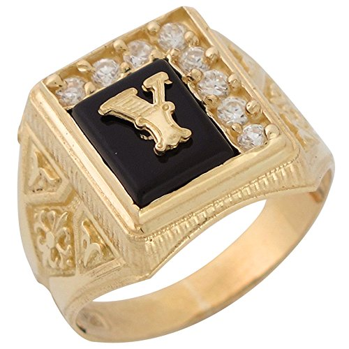 14k Yellow Gold Black Onyx White CZ Accented Mens Classic Letter Y Initial Ring -