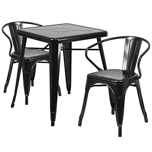 """Flash Furniture 23.75"""" Square Black Metal Indoor-Outdoor Table Set with 2 Arm Chairs For Sale"""