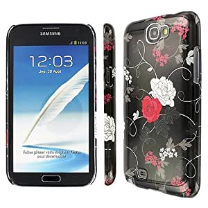 Black Red Flower Hard Case Cover for Samsung Galaxy Note II 2