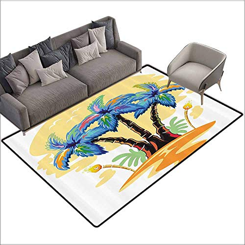 (Bathroom Rug Kitchen Carpet Palm Tree Decor,Cartoon Tropical Island with Hawaiian Palm Trees Torch Seagulls at SunBlue Orange 80