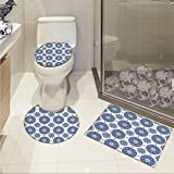 jwchijimwyc Home Decor 3 Piece Bath mat set Vintage French Country Style Floral Circular Pattern Lace Ornamental Snowflake Design Print custom made Blue White