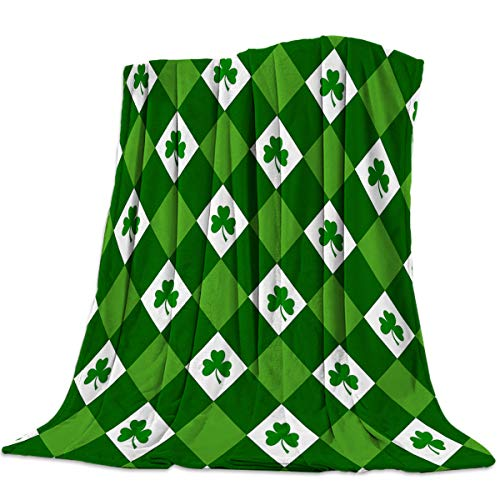 Singingin Green and White Grid Pattern St. Patrick's Day Shamrocks Flannel Throw Blanket Super Soft Warm Snuggle Stadium Blanket for Couch Chair Sofa and Bed Everyday Use 60