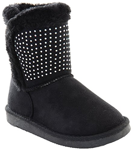 Fourever Funky Girls Fur Rhinestone Faux Shearling Round Toe Ankle Boot Kids Black