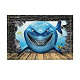 NYMB Crazy Cartoon Shark with A Scary Smile and Sharp Teeth Bath Rugs for Bathroom, Non-Slip Floor Entryways Outdoor Indoor Front Door Mat, 15.7x23.6in Bath Mat Blue(Multi30)