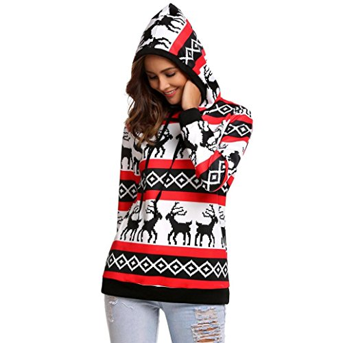 Honhui Christmas Women Hoodies Xmas Sweatshirt Jumper Hooded Long Sleeve Pullover