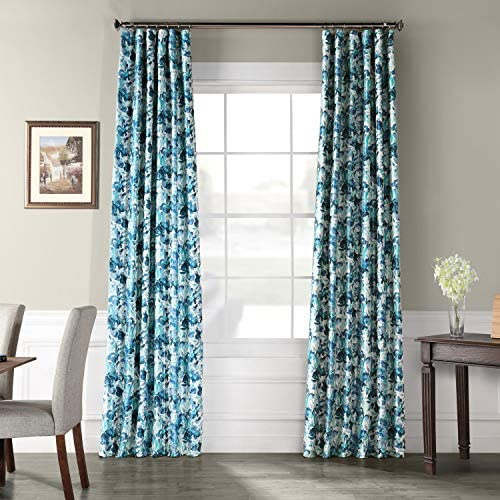 HPD Half Price Drapes PTPCH-170801-108 Designer Printed Blackout Curtain 1 Panel , 50 X 108, Watercolor Turquoise