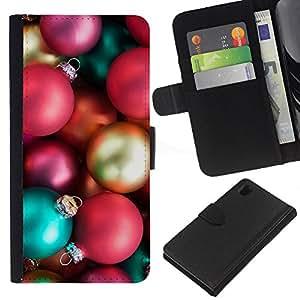 Bolas Insignia de Oro Rosa- la tarjeta de Crédito Slots PU Funda de cuero Monedero caso cubierta de piel Para Sony Xperia Z1 L39
