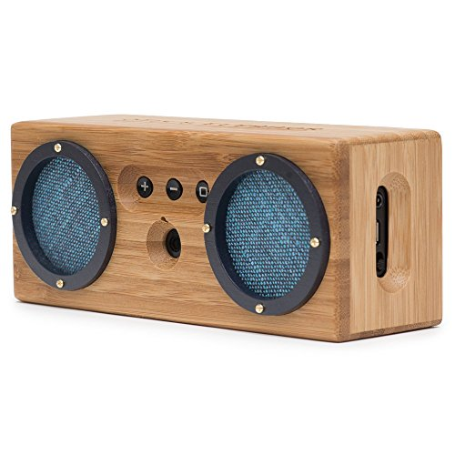 Bongo Bamboo Retro Bluetooth Speakers - Portable Wireless Handcrafted Wood Speaker for Travel, Home, Outdoors | Dual Passive Subwoofer, 15 Hour Battery - Vintage Blue ()