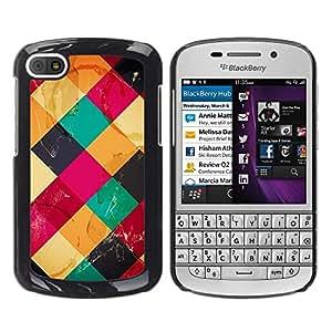 Be Good Phone Accessory // Dura Cáscara cubierta Protectora Caso Carcasa Funda de Protección para BlackBerry Q10 // Colorful Cubes Neon