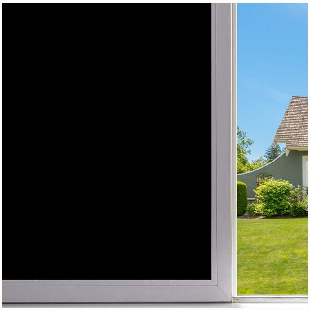 Velimax Blackout Window Film 100% Privacy Static Cling Window Tint Black Stickers Light Blocking Room Darkening No Glue 35.4'' x 157.4''(90CM by 400CM)