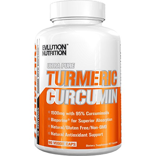Evlution Nutrition Turmeric Curcumin with Bioperine 1500mg. Premium Pain Relief & Joint Support with 95% Standardized Curcuminoids. Non-GMO, Gluten Free Turmeric Capsules (30 Serving Veggie Capsule)