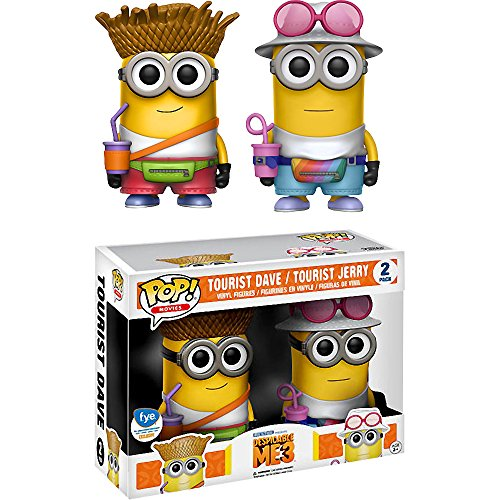 Funko Tourist Dave & Tourist Jerry (f.y.e. Exclusive) POP! Movies x Despicable Me 3 Vinyl Figure + 1 CG Animation Themed Trading Card Bundle ()