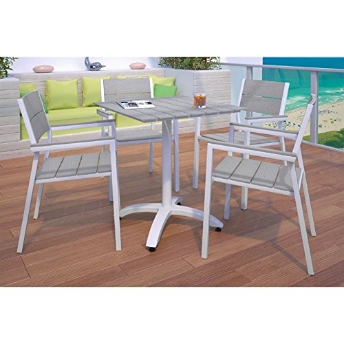 Modway Maine 5-Piece Aluminum Dining Table And Chair Outdoor Patio Set in White Light Gray