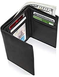 Trifold Leather Wallets For Men Slim - Mens Wallet Card With ID Window & Gift Box For Him RFID Blocking