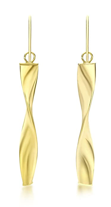 Carissima Gold 9 ct Yellow Gold Twist Bar Drop Earrings