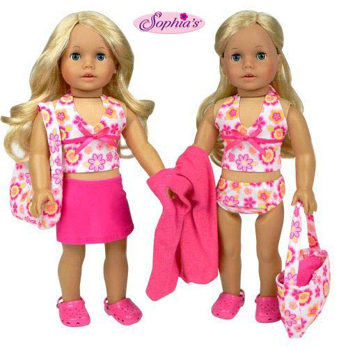 - Sophia's 18 Inch Doll Bathing Suit 6 Piece Set, Fits 18 Inch American Girls Dolls & More! 2 Pc. Bathing Suit, Skirt, Sandals, Beach Bag, & Towel