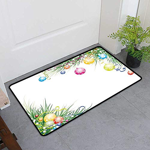TableCovers&Home Universal Door Mat, New Year Custom Doormats for Bedroom, Colorful Baubles on Fir Branches Seasonal Ornaments Christmas Themed Illustration (Multicolor, H20 x W32)