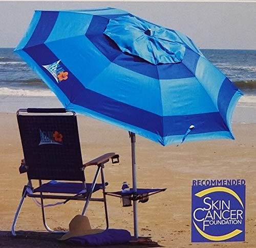 Tommy Bahama 2016 Sand Anchor 7 feet Beach Umbrella with Tilt and Telescoping Pole (Dark Blue) (Blue Bahama Tommy)