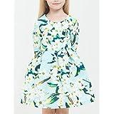 YANYANGirlDress Girl's Daily Solid Dress, Cotton Linen Bamboo Fiber Acrylic Spring Long Sleeves Vintage Green