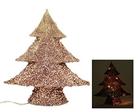 wire frame christmas tree with lights 42cm graduated copper glitter