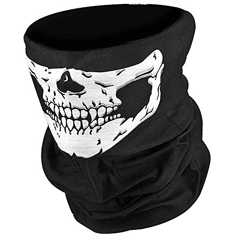 [New Brand Mall Seamless Skull Mask Design Case For Motorcycle Half Face Mask Headwear(Black, Pack of] (Zipper Costume Face)