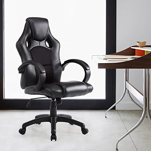 Acepro Office Executive Chair Desk Chairs Computer Chair PU Leather High Back Tall Chair for Office Ergonomic Racing Gaming Swivel Adjustable Chair, Black (People Racing)