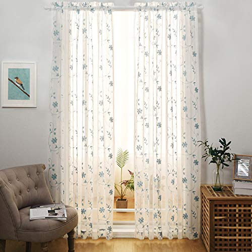Floral Embroidery Sheer Curtains Blue 95 Inches Long, Window Treatments Rod Pocket Drapes for Living room, Bedroom, Semi Crinkle Voile Curtain Panels for Yard, Patio, Villa, Parlor, Set of 2, 52