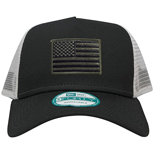 New Era 9FORTY 5 Panel USA Flag Patch Snapback Trucker Cap - BLACK - BLACK OLIVE