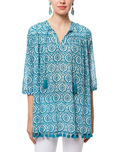 Roller Rabbit Teal Medallion Serafina Tunic