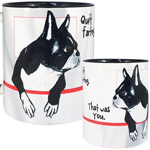 Farting Boston Terrier Mug by Pithitude - One Single 11oz. Black Coffee Cup