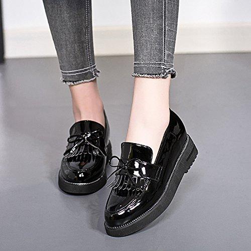 LvYuan Zapatos de mujer / Preppy estilo / borlas Dunk / bajo tacón grueso / comodidad / punta redonda / dedo del pie cerrado / Oxfords / al aire libre / casual Black